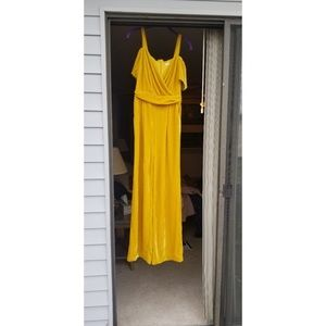 Yellow velvet fitted jumpsuit